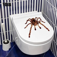 YOJA-autocollant mural simulant Animal   Étiquette grande araignée, drôle, autocollant de toilette, décoration de salon maison