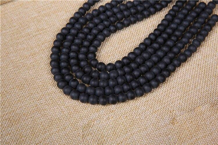 1 tira de cuentas de piedra Natural 4/6/8/10/12/14mm redondo negro mate cuarzo cuentas sueltas DIY joyería de moda hallazgos