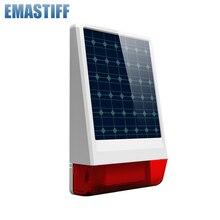 Sirène sans fil à grand stroboscope pour lextérieur   315mhz ou 433mhz à énergie solaire, son de réponse clignotant, chooseable 130 dB