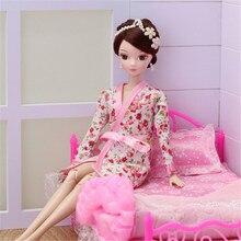 1 takım elbise Barbie bebek elbise şort Ken BJD bebek aksesuarları çocuklar hediye dantel seksi yatak odası pijama Robe gecelik bornoz