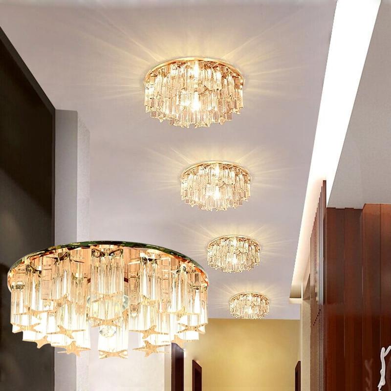 LAIMAIK, lámpara LED de cristal para techo, 3 W, 5 W, AC90-260V, moderna lámpara LED de cristal, pasillo, pasillo, luz, porche, sala, iluminación de techo LED