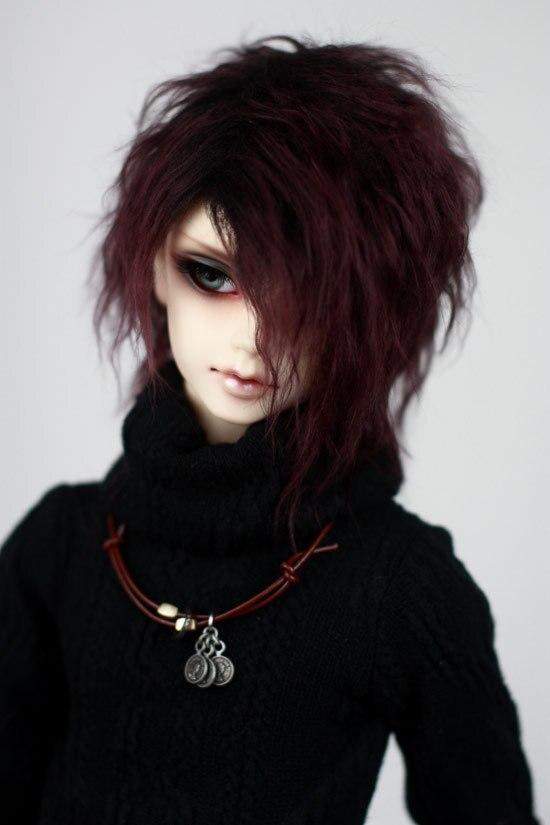 Волосы для кукол BJD, лиловые, черные, короткие, волнистые, для 1/3 1/4 1/6, BJD, DD, SD, MDD, MSD, YOSD