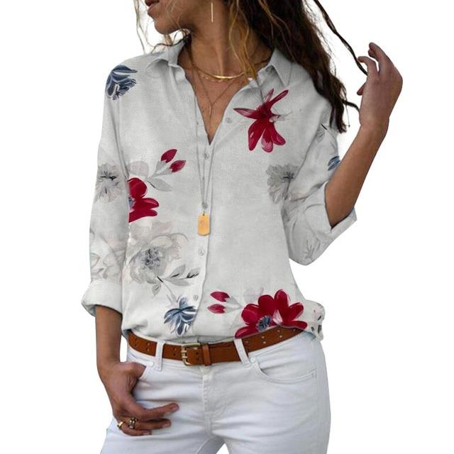 Long Sleeve Women Blouses 2020 Plus Size Turn-down Collar Blouse Shirt Casual Tops Elegant Work Wear Chiffon Shirts 5XL 10