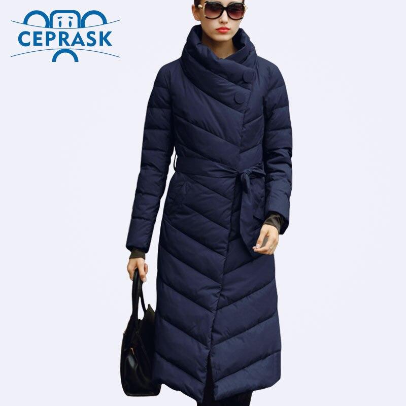 Ceprask 2020 chaqueta de invierno de alta calidad para mujer de talla grande x-long abrigos femeninos Slim Belt moda caliente Parka camperas casaco