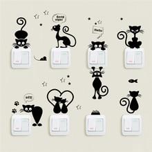 사랑스러운 고양이 빛 스위치 아이 방에 대 한 전화 벽 스티커 diy 홈 장식 만화 동물 벽 전사 술 pvc 벽화 예술