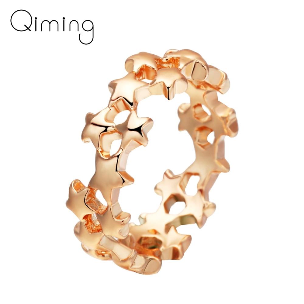 Anillo de dedo apilable de estrella Color dorada para mujer, joyería para boda o cóctel, anillos geométricos Vintage para dedo del pie, anillo femenino
