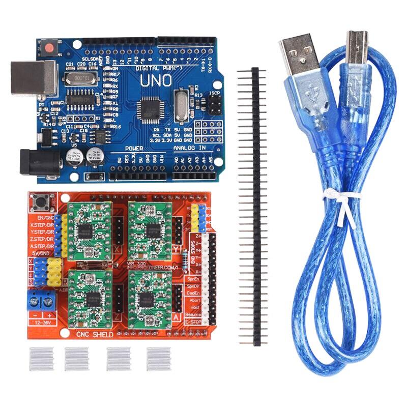 Плата расширения с ЧПУ V3.0 + плата UNO R3 + USB + 4 шт. A4988/DRV8825 Драйвер шагового двигателя с радиатором для деталей 3D-принтера