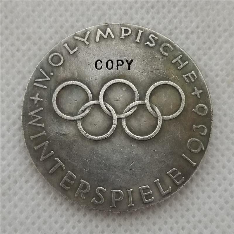 1936 WW2 WWII немецкая Берлинская олимпийская медаль медальон копия монеты Бесплатная доставка