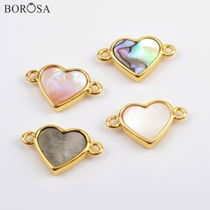 BOROSA 10Pcs New Heart Gold Bezel Abalone Shell Natural White Shell Connector Jewelry Findings for Necklace as Gift WX1174