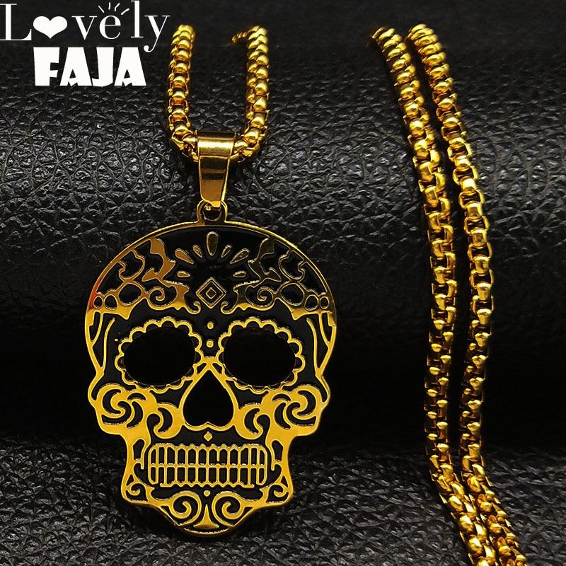 2021 mode crâne en acier inoxydable collier pour hommes noir or couleur colliers bijoux acero inoxydable N18778