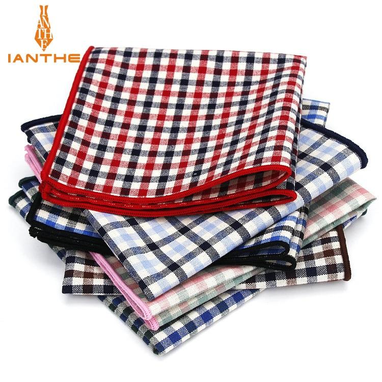 Винтажный Классический костюм из 100% хлопка, квадратный платок 25 см * 25 см, мужские носовые платки, клетчатая клетка, модное полотенце для сун...