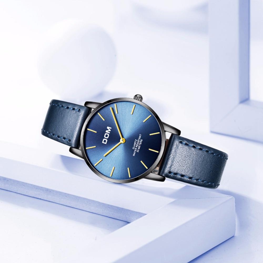 DOM Ultra thin Ladies Watch Brand Luxury Women Watches Waterproof Blue Color Stainless Steel Quartz Wrist Watch femme G-36BL-1MT enlarge