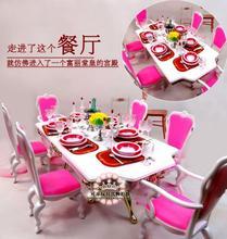 genuine for princess barbie utensils tableware restaurant dinner table chair furniture set 1/6 bjd doll accessories toy gift