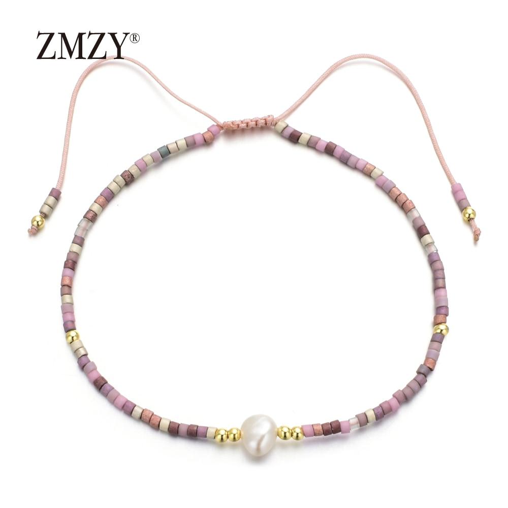ZMZY pulseras de perlas naturales de agua dulce ajustables hechas a mano para mujeres amigos brazalete de cuerda atractivo joyería Simple al por mayor
