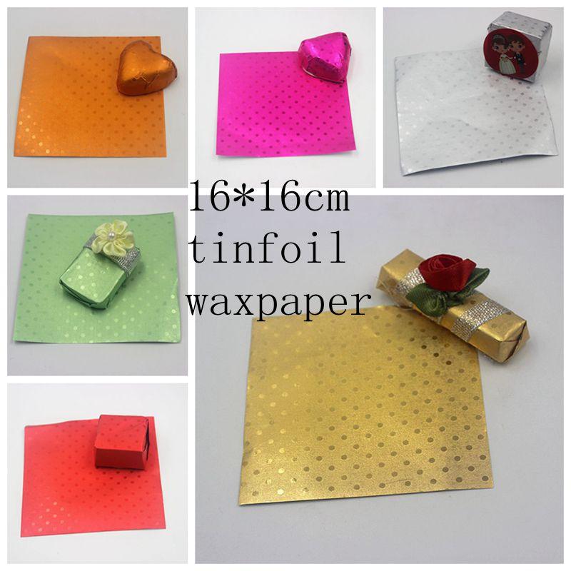 (100 unids/lote) papel complejo de cera de aluminio papel para envolver Chocolate papel para hornear 6 colores Paquete de caramelos de goma de mascar 16*16cm