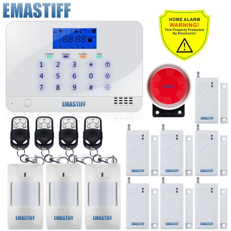 Sistema de alarma de Casa GSM con cable inalámbrico, 99 zonas de seguridad de la casa, alarma de voz antirrobo, Sensor de movimiento, sirena con cable