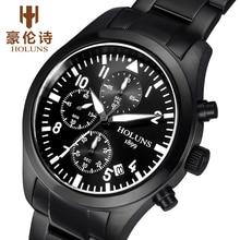 HOLUNS Men Chronograph Luminous Watch Sport Canvas Quartz-Watch Daily Waterproof Clock Date Mens Wrist Watch relogio masculino