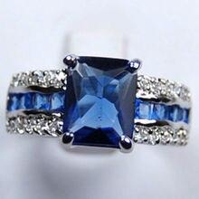 Blu Tourmaline Silver Ring size 7-9 #> spedizione gratuita> Dongguan ragazza jewerly Negozio spedizione gratuita