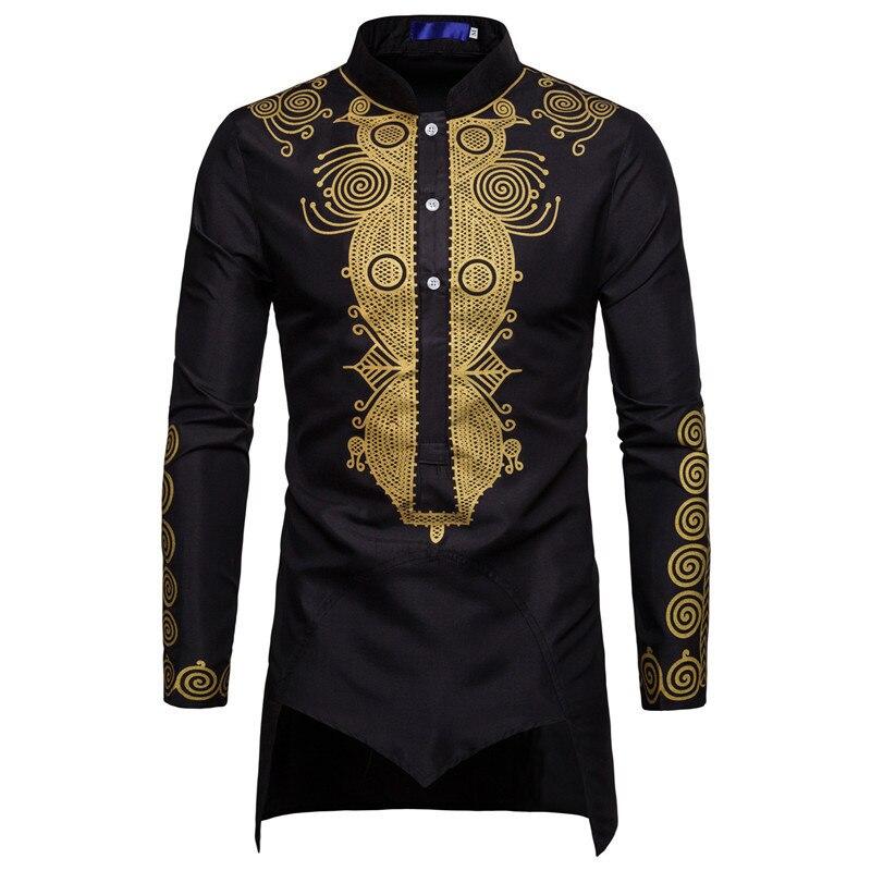 Черная Мужская рубашка Uomo, кафтан, мусульманская Курта, индийская мусульманская одежда в европейском стиле, Мужская позолоченная рубашка с ...
