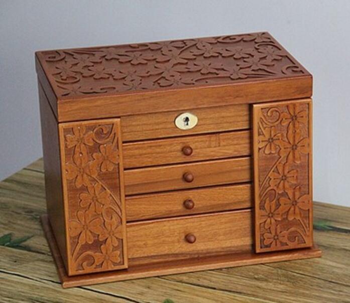 Шкатулка для ювелирных изделий в ретро стиле с клевером из натурального дерева, большая многослойная коробка для свадебного подарка, орган...
