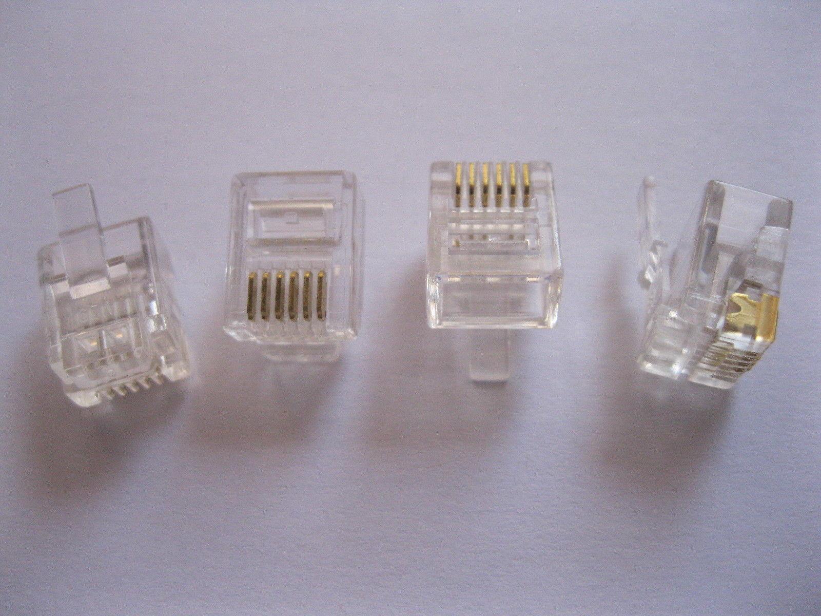 100 piezas RJ11 6P6C Modular Plug conector telefónico
