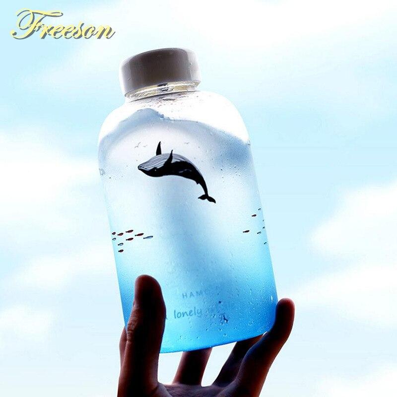 Criativo baleia gradiente cor garrafa de água de vidro bonito oceano garrafas animais 600ml acampamento esporte garrafa passeio drinkware navio da gota