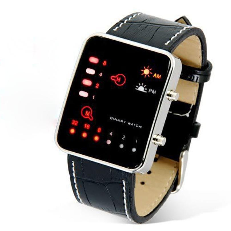 ¡Novedad de 2020! Reloj de pulsera deportivo rojo Digital de alta calidad de lujo para hombre, reloj de pulsera deportivo binario de piel sintética, relojes para hombre 50p