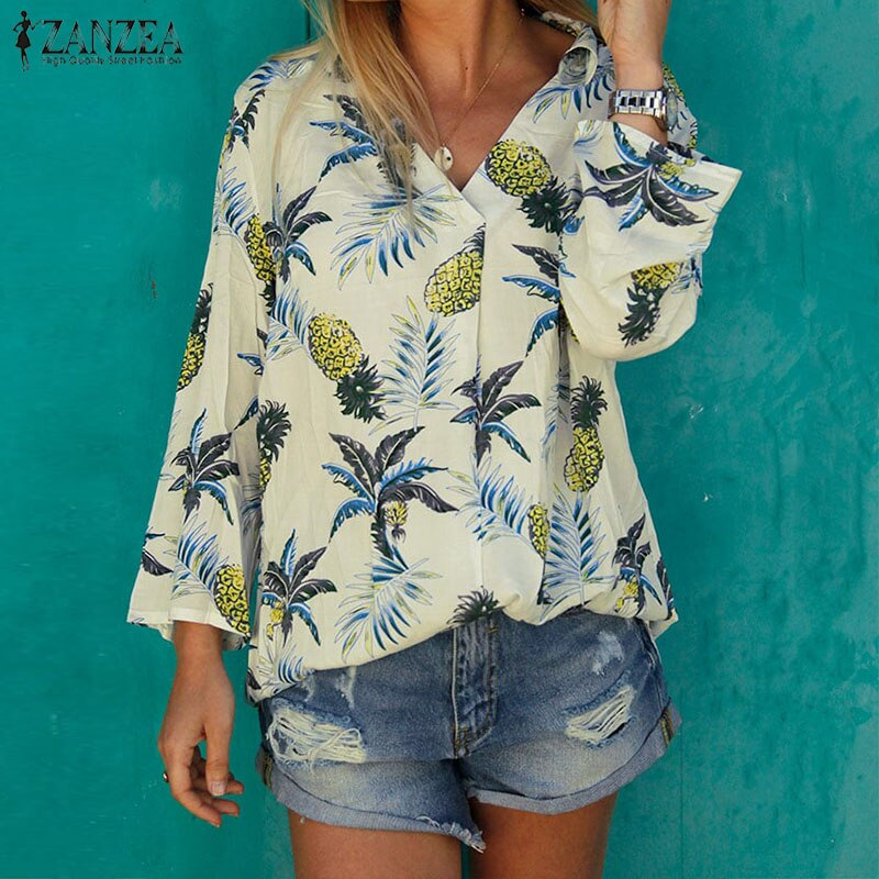 ZANZEA Bohemain piña impresa Tops mujer verano Blusa moda fiesta hawaiana Camisas Mujer cuello pico manga larga Blusa túnica