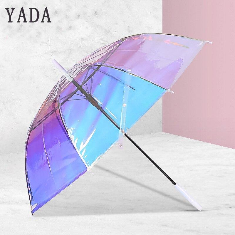 Transparente para Iris Curva para Crianças Yada Guarda-chuva Automático Transparente Criativos Laser Arco-íris Alça Ys715 Pvc