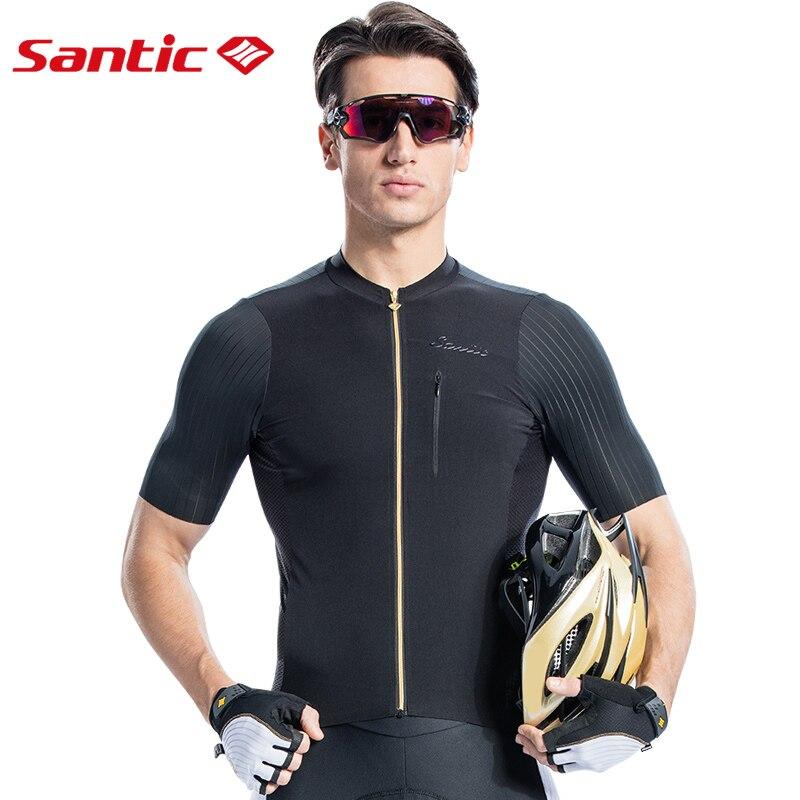 Santic Men Cycling Jersey Short Sleeve Pro Fit Imported Italian Fabric MTB Jersey Road Bike Short Downhill  Jersey Mujer 2019