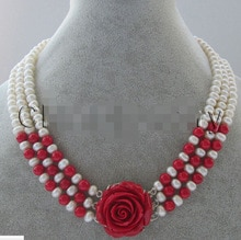 "Maravilloso collar de agua dulce blanco natural de 17-19 ""7-8mm + coral rojo para mujer"