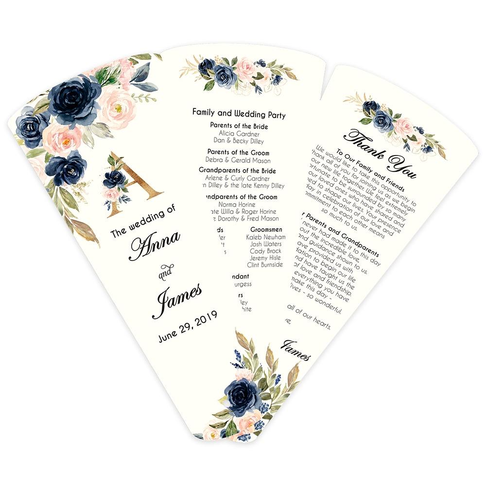 50 pcs Programa Do Casamento Pétala Fãs Montado Verde Personalizado impresso três páginas de impressão Único Lado