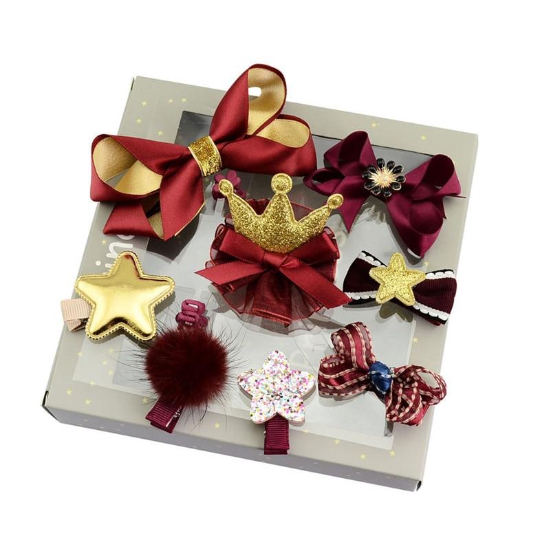 10 pçs/set Crianças Fita Conjunto Coração Da Flor Da Estrela Orelhas de Coelho Arco de Cabelo Grampos de Cabelo Da Coroa Da Princesa Acessórios para o Cabelo Meninas Com caixa
