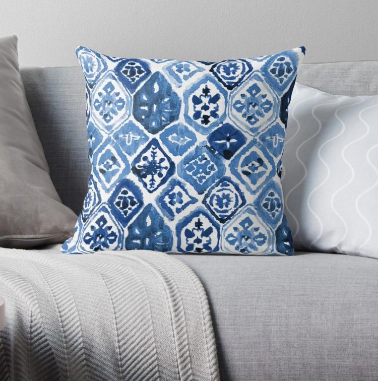 Arabesco azulejo arte fundas de almohada patrón nórdico funda de cojín funda de almohada estampado a cuadros