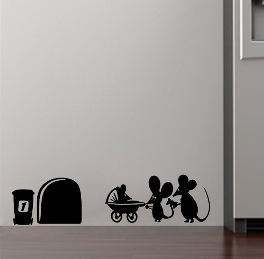 ¡Oferta! pegatina de pared de agujero con ratón, decoración del hogar, vinilo de tamaño pequeño, pegatina de pared, decoración S