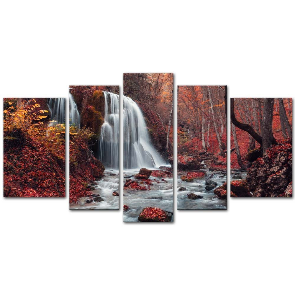 Impresión HD 5 paneles otoño hoja de arce cascada lienzo mural decoración del hogar imagen para la sala de estar imagen modular