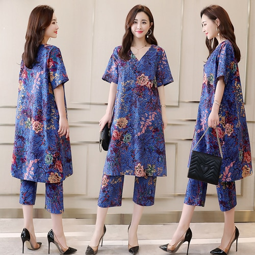 Floral Print Women 2 Piece Set Top And Pants Vintage Women's Summer Suit Retro Summer Outfits Cotton Linen Matching Sets