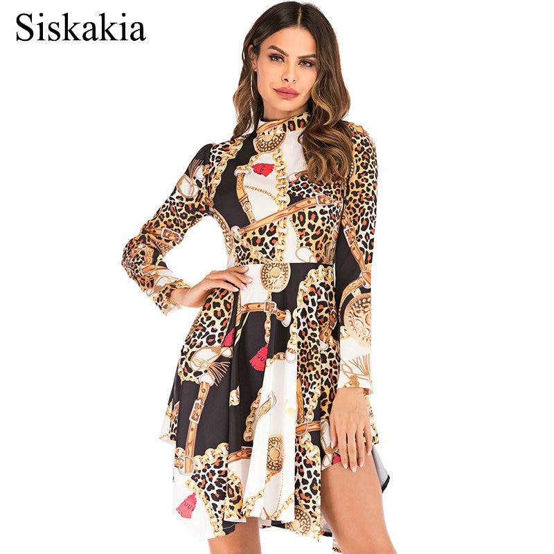 Siskakia mujeres de manga larga vestido de cuello de soporte asimétrica corte Mini vestidos drapeado Swing verano 2019 impresión étnica