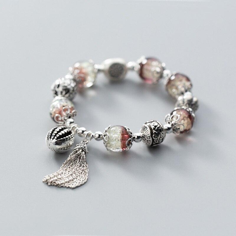 925 Sterling Silver Lotus Leaf Tassel Bracelets for Women Ladies Femme Luminous Stone Ethnic Style Vintage Thai Silver Jewelry
