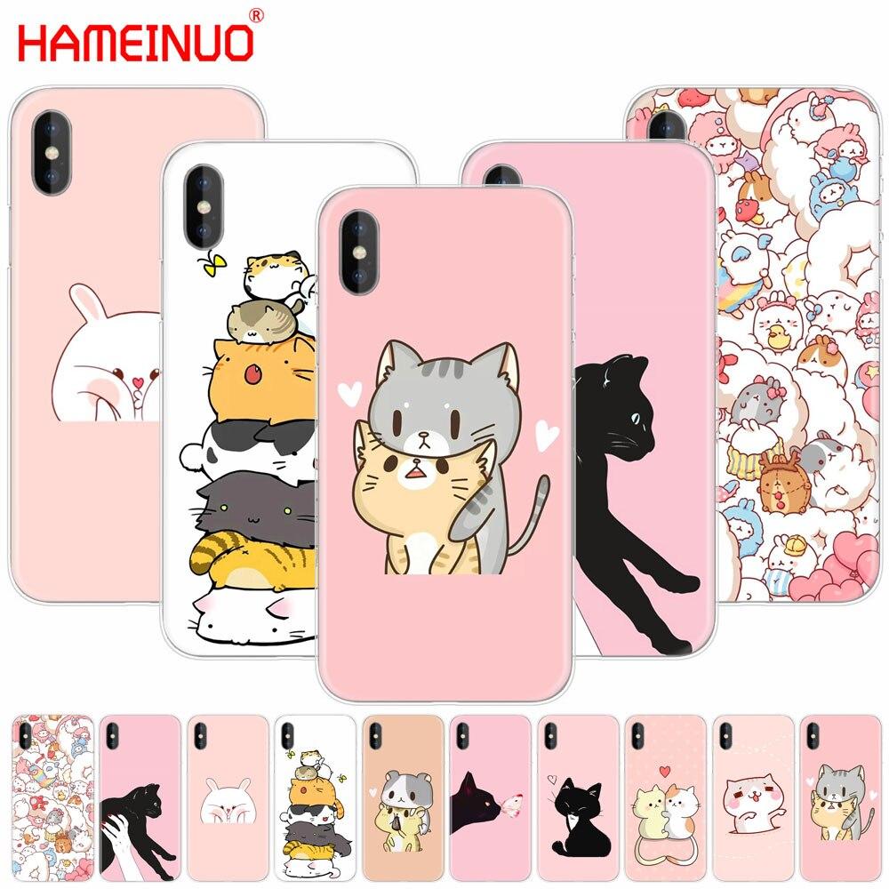 Cubierta de teléfono móvil HAMEINUO Kawaii Molang de dibujos animados Anime perro gato para iphone 7 6X8 4 4S 5 5S SE 5c 6s plus