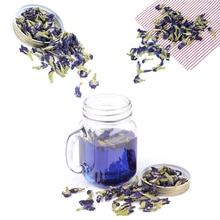 100 g/paket Clitoria Ternatea. Mavi kelebek bezelye çay. Kurutulmuş Clitoria kordofan bezelye çiçek. Tayland.