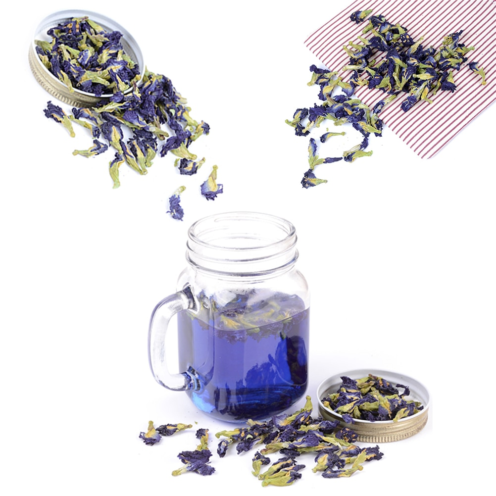Paquete de 100 g/té de Ternatea de Clitoria. Té de guisante de mariposa azul. Flor de guisante de Clitoria kordofan seca. Tailandia. Juguete