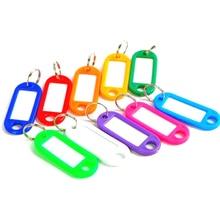 10 stuks Willekeurige Kleur Plastic Sleutelhanger Blanco Sleutel Ring DIY Naam Tags Voor Bagage Papier Insert Bagage Tags Sleutelhanger accessoires