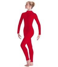 Bambini Lycra Nylon Ginnastica Unitard Ragazze Manica Lunga Danza Unitards Dolcevita Ragazzi Panno Rosso Footless Spandex Balletto Dancewear