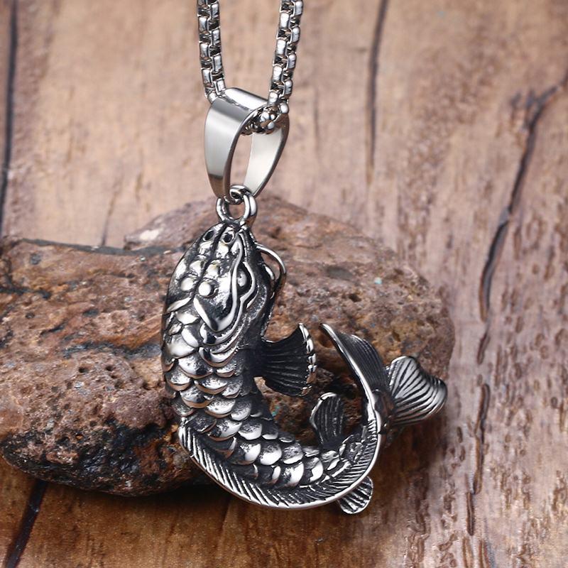 Мужская золотая рыбка с подвеской, 3D ожерелье из нержавеющей стали с подвеской в виде рыбы кои
