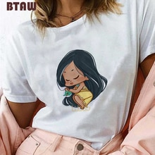 Mujer 2019 ropa impresión Kawaii bebé princesa Pocahontas Sleep Graphic Tees Mujer estética Femme Streetwear Harajuku camiseta