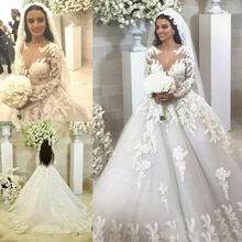 Princess Lace Ball Gown Vestido de noiva Long Sleeve Sheer Jewel Neck Lace Wedding Gowns Court Train Appliqued Bride Dress