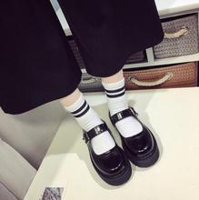 Women Platform Shoes Black Students Uniform Lolita Cosplay Footwear Halloween Maid Role Play Buckle Shoes