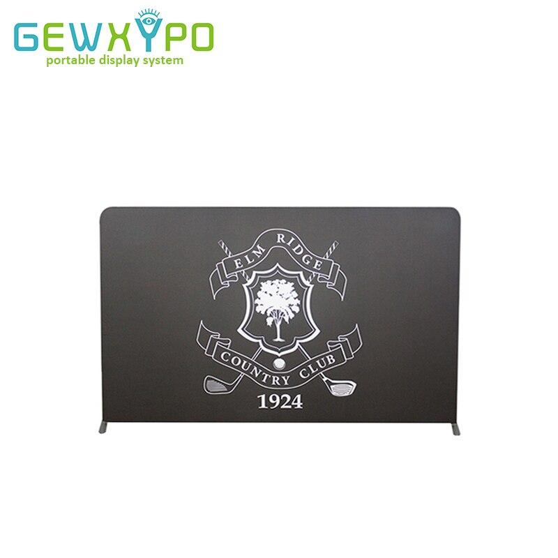 Stand de exhibición de 12 pies * 7,5 pies Pop Up Tension tela tubo pantalla soporte de fondo con impresión de bandera personalizada de sublimación de tinte