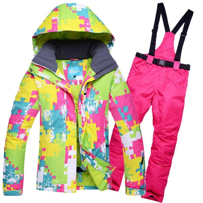 Зимний лыжный костюм для женщин, брендовые высококачественные лыжные куртки и брюки для женщин, теплые водонепроницаемые ветрозащитные ко...